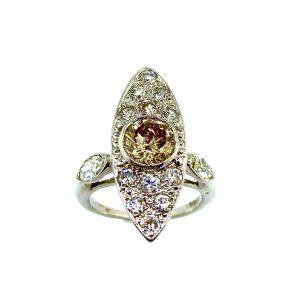 Champagne & White Diamond Estate Ring