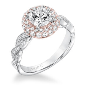 Anja ArtCarved Diamond Twisted Halo Engagement Ring 31-V651ERR