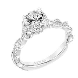 Amaryllis ArtCarved Floral Inspired Diamond Engagement Ring 31-V843E