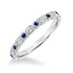 ArtCarved Diamond & Blue Sapphire Stackable Band 33-V9158L