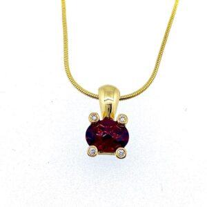 Red Garnet Diamond Pendant