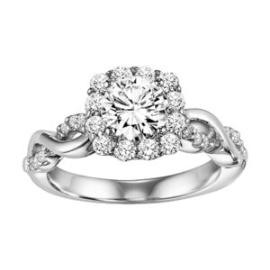 Bella ArtCarved Floral Intertwined Diamond Engagement Ring 31-V320E