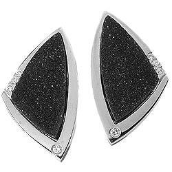 Drusy Onyx Diamond Earrings