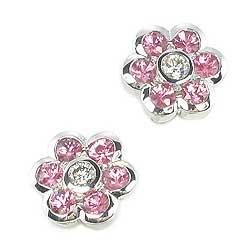 Pink Sapphire Flower Earrings